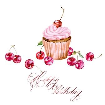 Scheda di compleanno con cupcake acquerello e ciliegia. illustrazione vettoriale.