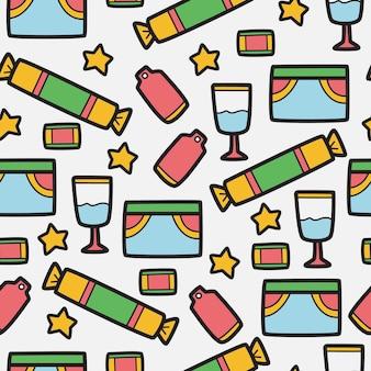 Compleanno cartoon doodle pattern design