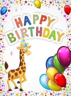 Cartone animato di compleanno con felice giraffa