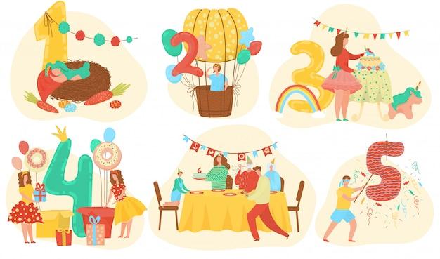 I numeri dell'anniversario della celebrazione di compleanno con il bambino sveglio, bambini hanno messo dell'illustrazione del fumetto dei modelli dell'invito. Vettore Premium
