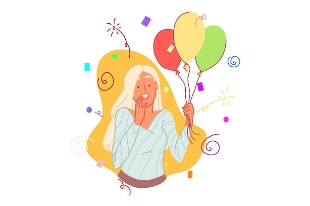 Concetto di celebrazione di compleanno con illustrazione di palloncini azienda giovane donna