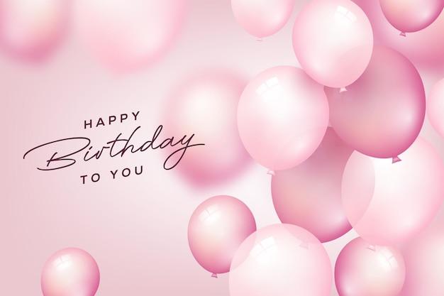 Celebrazione di compleanno e sfondo festa con palloncini volanti rosa per la festa di compleanno