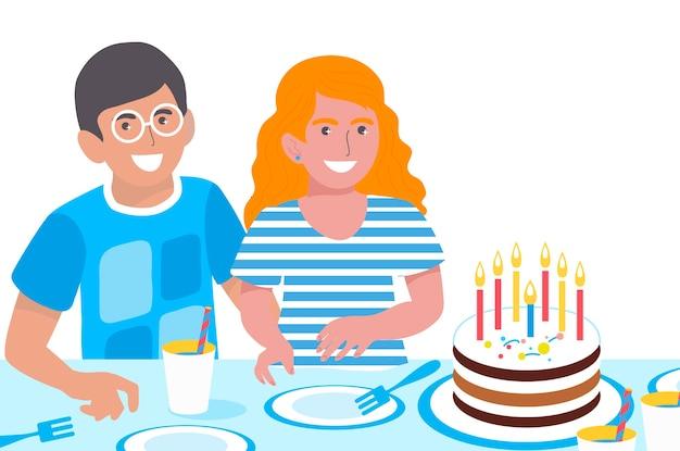 Compleanno bambini. ragazzi e ragazze carine. bambini sorridenti felici. festa di compleanno. torta dolce.