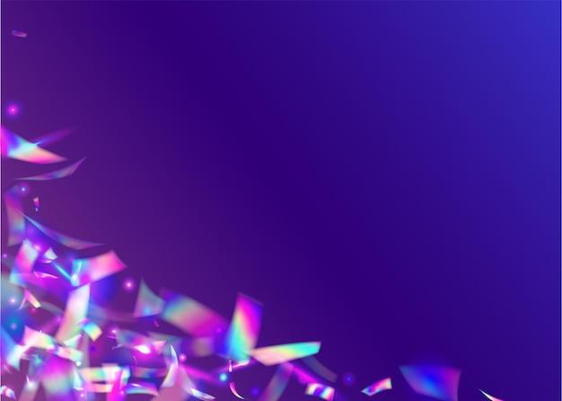 Coriandoli di compleanno. arte moderna. il laser celebra l'illustrazione. effetto bokeh. elemento di partito. bagliore al neon. tinsel discoteca viola. foglio di festa. coriandoli di compleanno viola