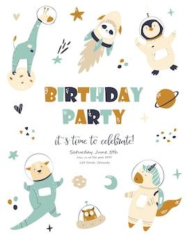 Scheda cosmica di compleanno con simpatici animali. poster di auguri, modello di invito