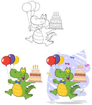 Coccodrillo di compleanno che sostiene una torta di compleanno