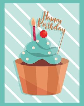 Compleanno cupcake crema frutta e lettering illustrazione
