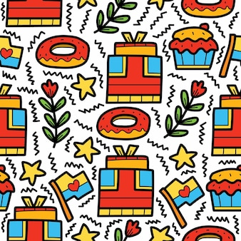 Compleanno doodle cartoon pattern design