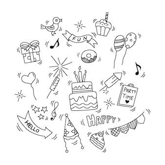 Elementi di doodle di compleanno isolati su sfondo bianco illustrazione vettoriale