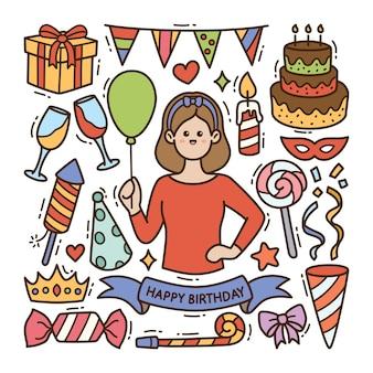 Fondo isolato dell'illustrazione di scarabocchio di compleanno
