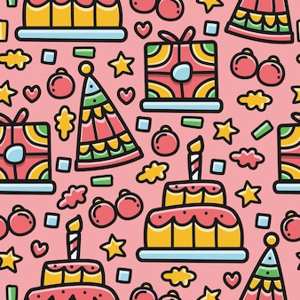 Compleanno doodle seamless pattern