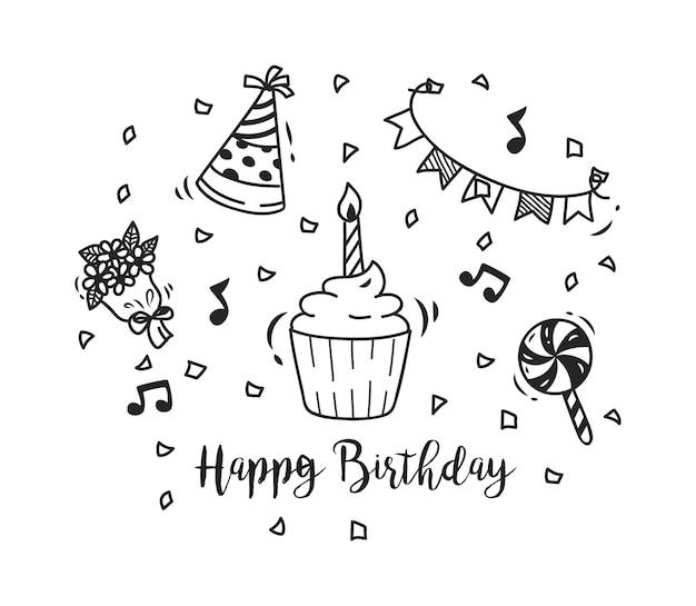 Set di doodle di compleanno
