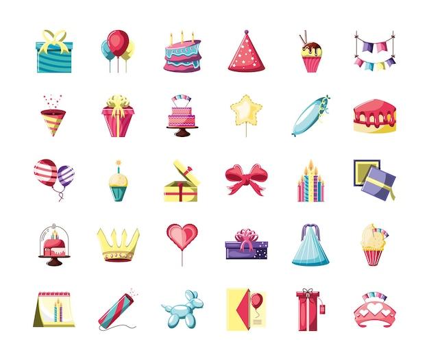 Elementi di compleanno impostare illustrazione
