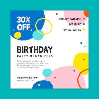 Compleanno flyer square concept