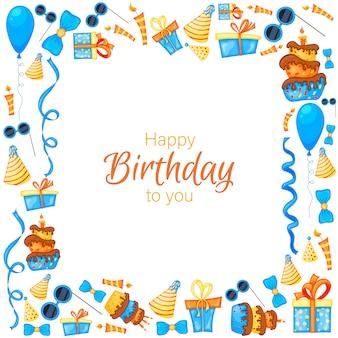 Cornice di compleanno con oggetti per biglietto di auguri o invito. stile cartone animato.