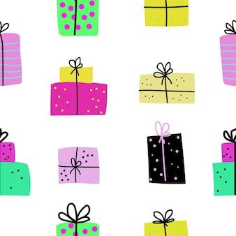 Scatole regalo di compleanno piatto vettore modello senza soluzione di continuità carta da imballaggio sfondo tessile cartone animato design