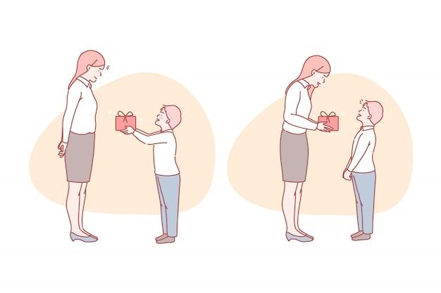 Compleanno, regalo, felicità, sorpresa, madre, illustrazione.