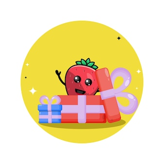 Regalo di compleanno mascotte simpatico personaggio fragola