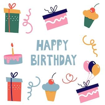 Regali di compleanno. scatole regalo e cupcakes per decorare i saluti in stile scarabocchi.
