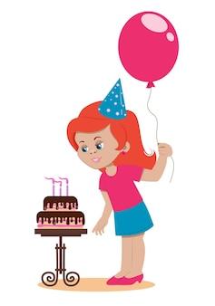 La festeggiata alla festa spegne le candeline sulla torta. personaggio dei cartoni animati.