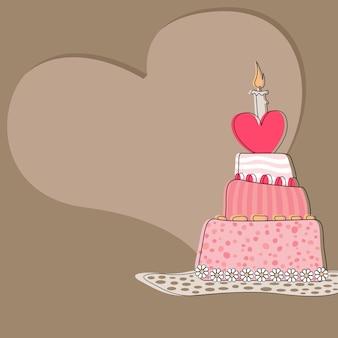 Illustrazione di biglietto di auguri di compleanno con torta e forma di cuore su sfondo marrone