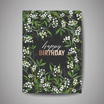 Biglietto di auguri di compleanno, invito o modello di congratulazioni con fiori, foglie floreali verdi, illustrazione di design per feste di celebrazione di poster in vettoriale