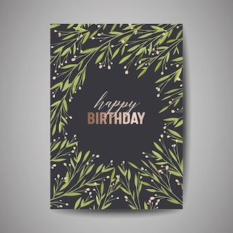 Biglietto di auguri di compleanno, invito o modello di congratulazioni con floreale verde, illustrazione di design per feste di celebrazione di poster in vettoriale