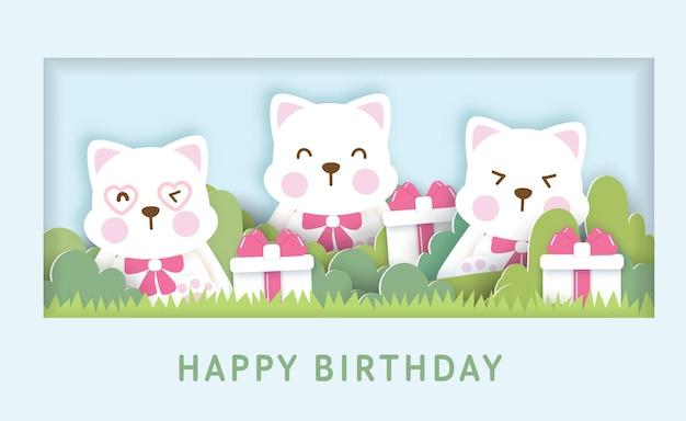 Modello di biglietto di auguri di compleanno con simpatici gatti.