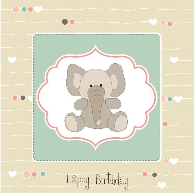 Biglietto di auguri di compleanno con elefantino