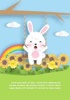Biglietto di auguri di compleanno con coniglio carino e girasole in stile taglio carta.