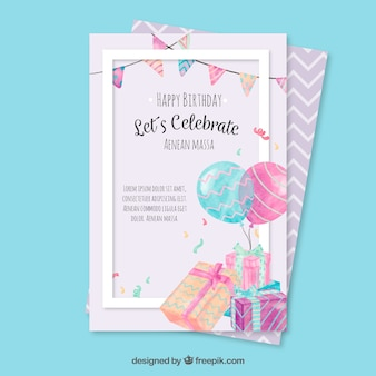 Cartolina d'auguri di compleanno con gli elementi dell'acquerello