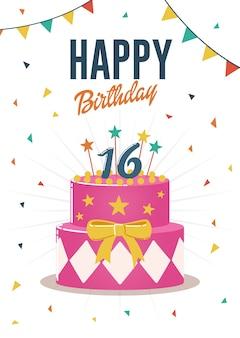 Biglietto di auguri di compleanno e carta di invito con dolce 16 illustrazione torta di compleanno