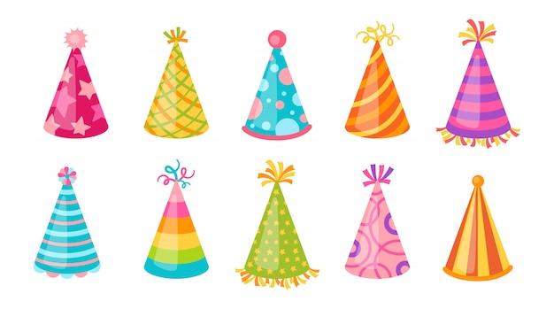 Set di berretti da festa con cappello di compleanno. berretti piatti del fumetto con i modelli. isolato