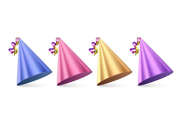 Cappelli di compleanno set su sfondo bianco cappello da festa colorato