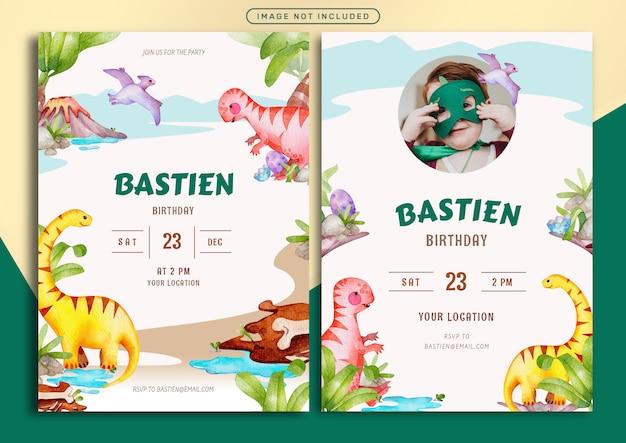 Modello della carta dell'invito di compleanno con l'illustrazione giurassica dell'acquerello di tema