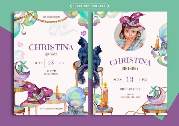 Modello della carta dell'invito di compleanno con l'illustrazione dell'acquerello di tema della stregoneria
