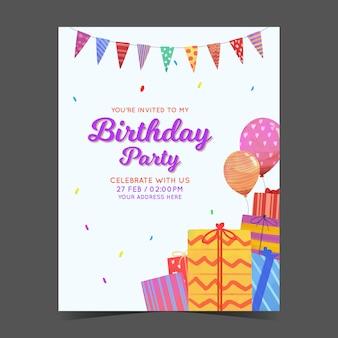Modello di carta di invito di compleanno