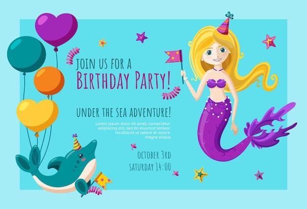 Biglietto d'invito di compleanno con simpatico delfino e sirena invito pronto con palloncini