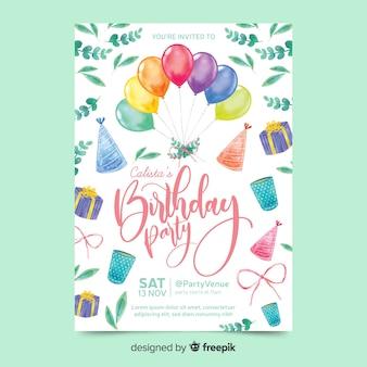 Invito di compleanno in stile acquerello Vettore Premium