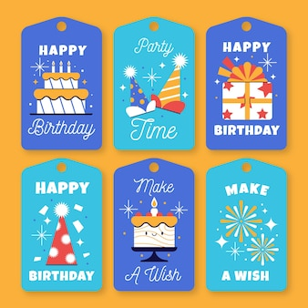 Collezione di design piatto distintivo di etichetta di compleanno
