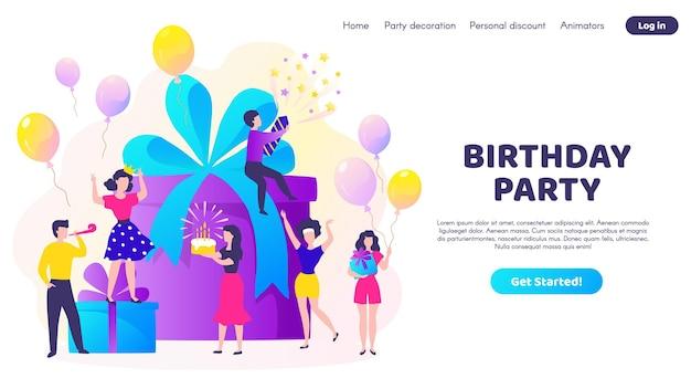 Pagina di destinazione del compleanno. celebrazione della festa con confezione regalo, palloncini e personaggi dei cartoni animati felici