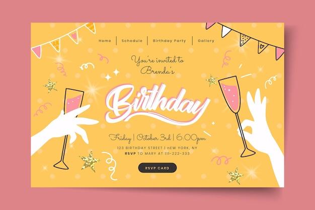 Modello di pagina di destinazione di compleanno