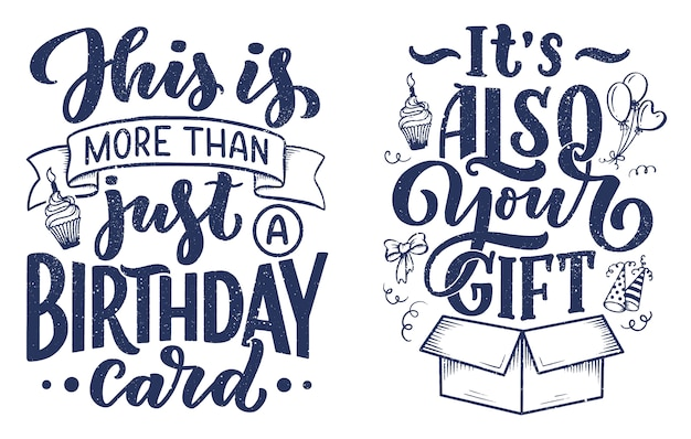 Scritte di compleanno in stile retrò. carta di invito anniversario.