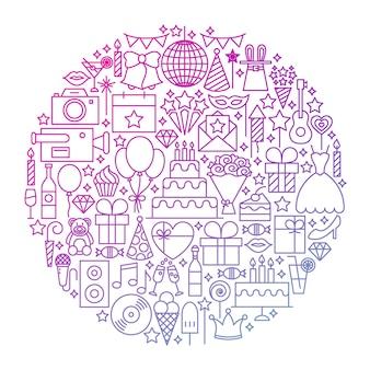 Disegno del cerchio dell'icona della linea di compleanno. illustrazione vettoriale di oggetti di contorno del partito.