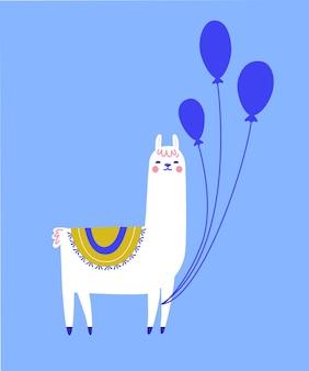 Lama di compleanno con palloncini. simpatico personaggio di lama per il design di biglietti di auguri.