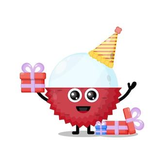 Compleanno litchi simpatico personaggio mascotte