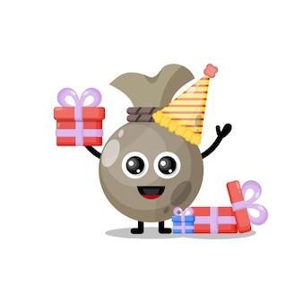 Sacco di soldi di compleanno simpatico personaggio mascotte
