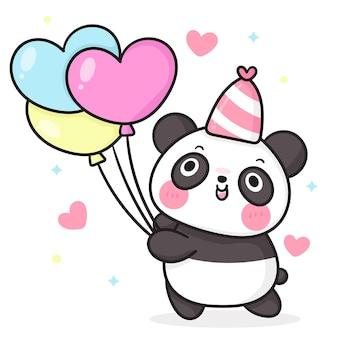 Fumetto dell'orso di panda di compleanno che tiene il palloncino del cuore per l'animale di kawaii del partito