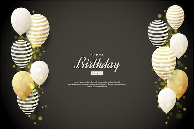 Priorità bassa della festa di compleanno con l'illustrazione dell'aerostato 3d.