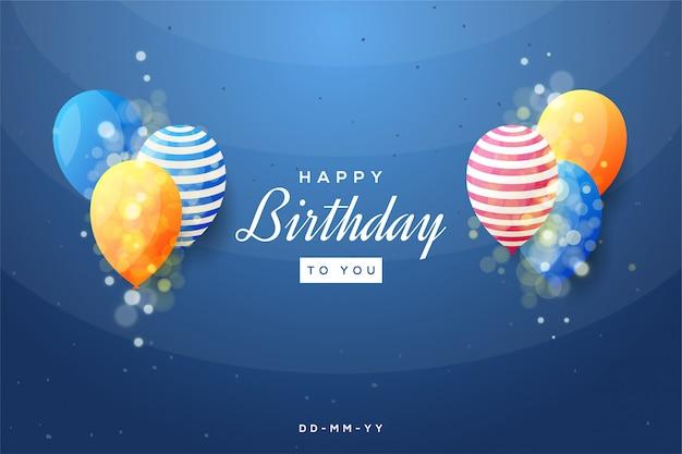 Priorità bassa della festa di compleanno con l'illustrazione variopinta dell'aerostato 3d su una priorità bassa blu.